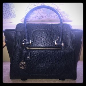 London Fog Embossed Ostrich Satchel and Wallet